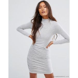 NWOT ASOS Gray Long Sleeve Bodycon Dress